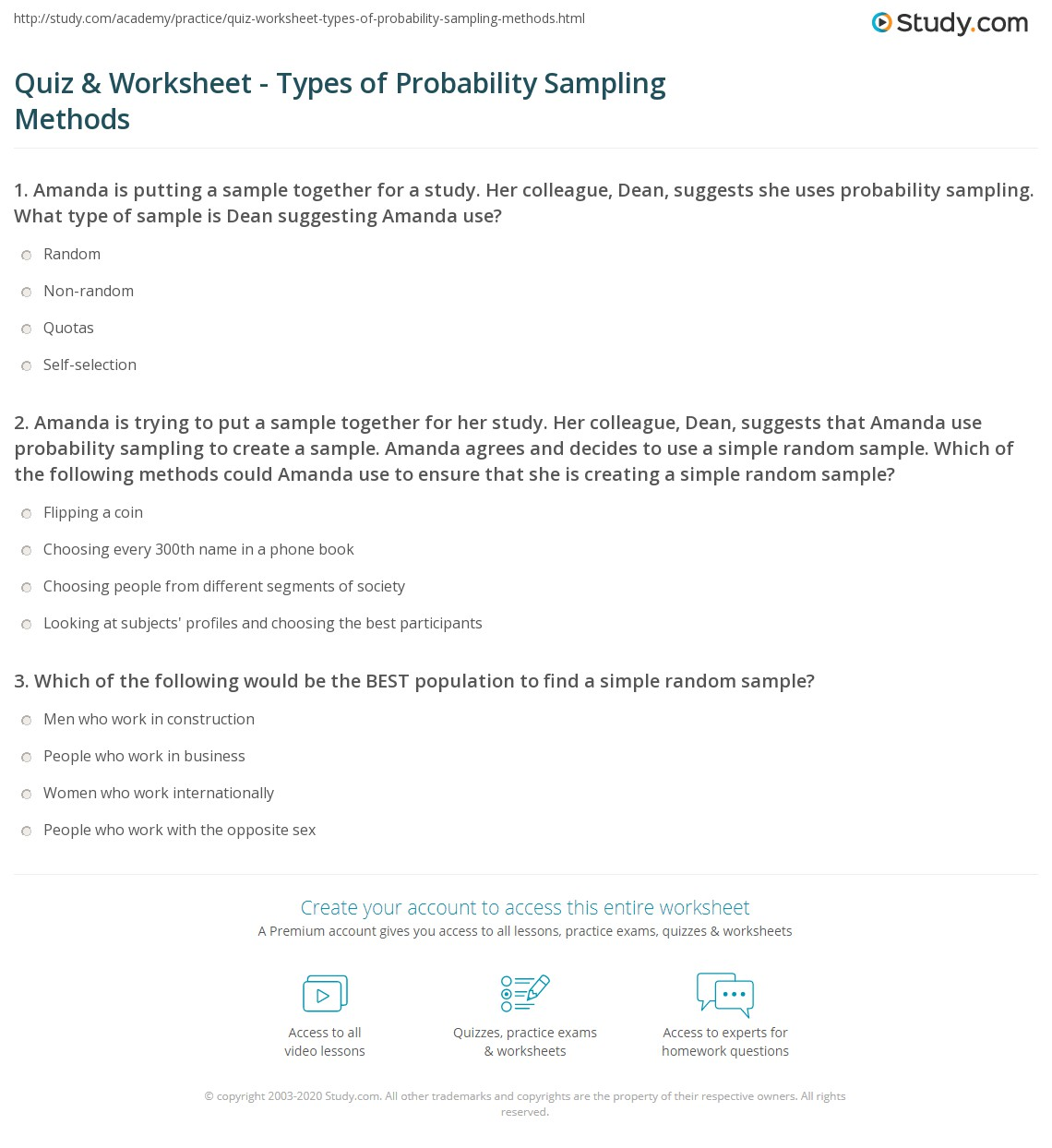 Quiz & Worksheet - Types of Probability Sampling Methods | Study.com
