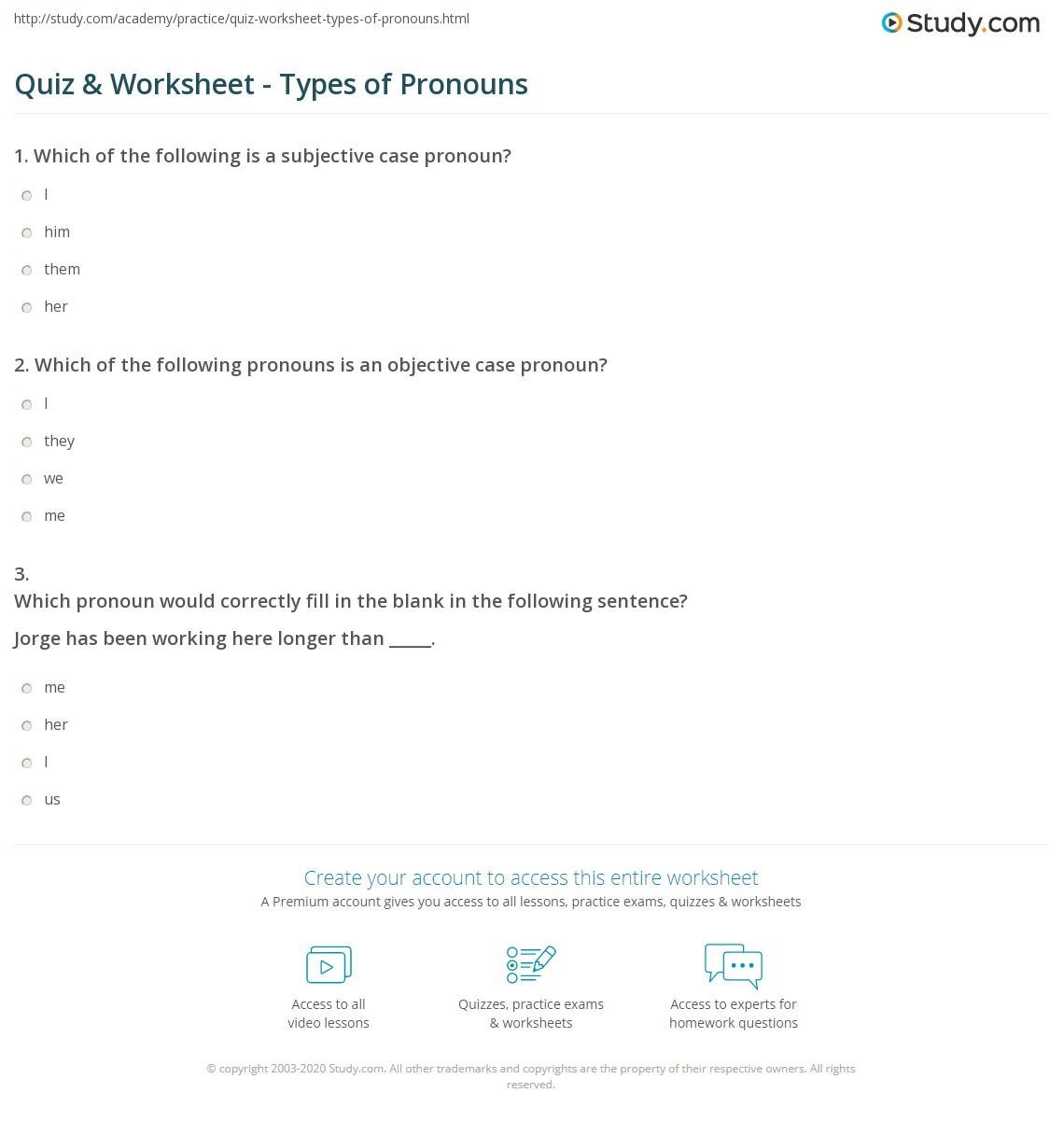 Quiz Worksheet Types of Pronouns – Pronoun Case Worksheet