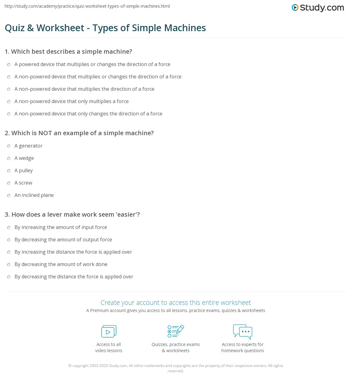 Quiz Worksheet Types of Simple Machines – Simple Machines Worksheet