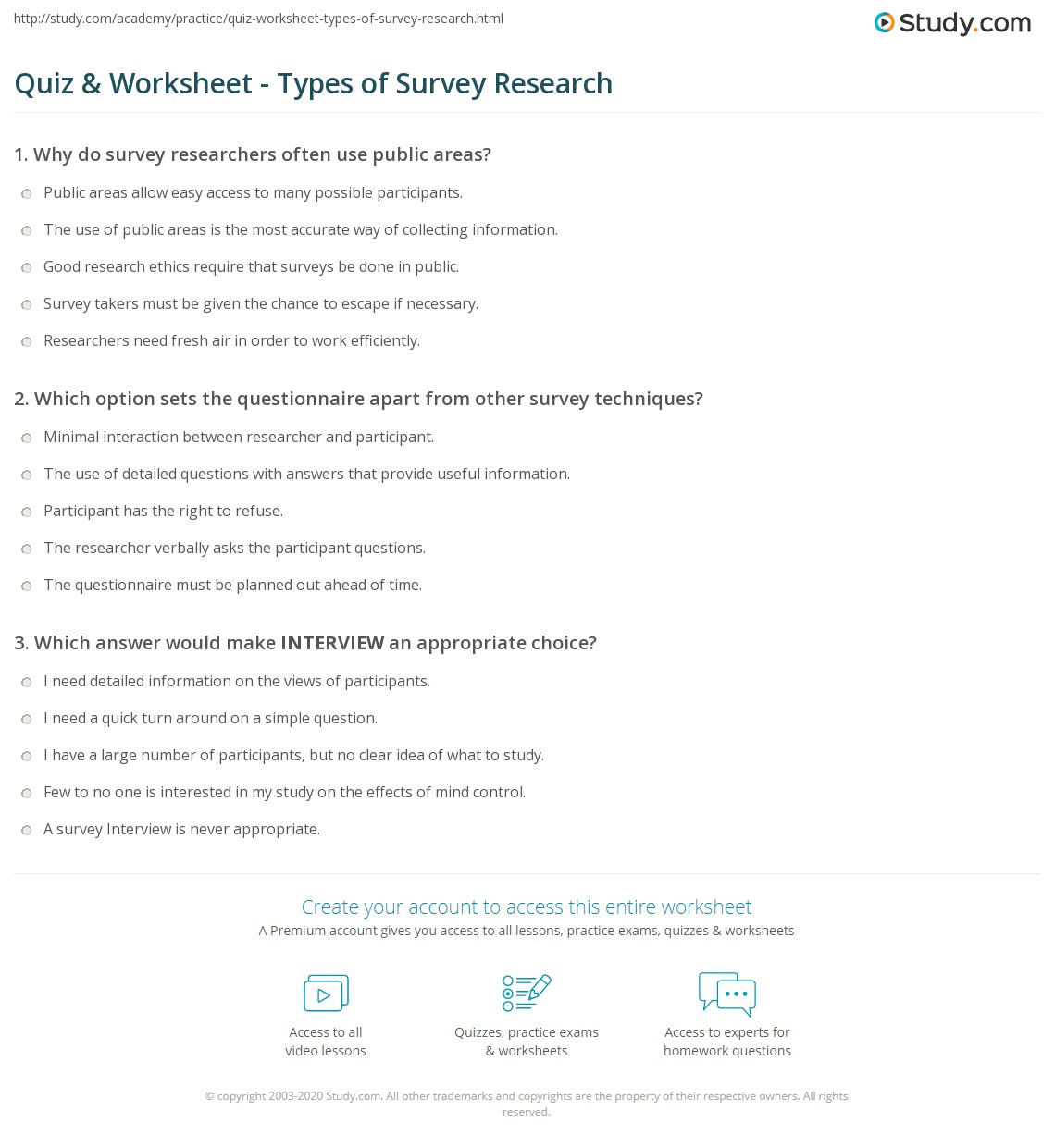 Quiz amp Worksheet Types Of Survey Research Studycom Quiz Worksheet Types Of Survey Research Quiz Worksheet Types Of Survey Research