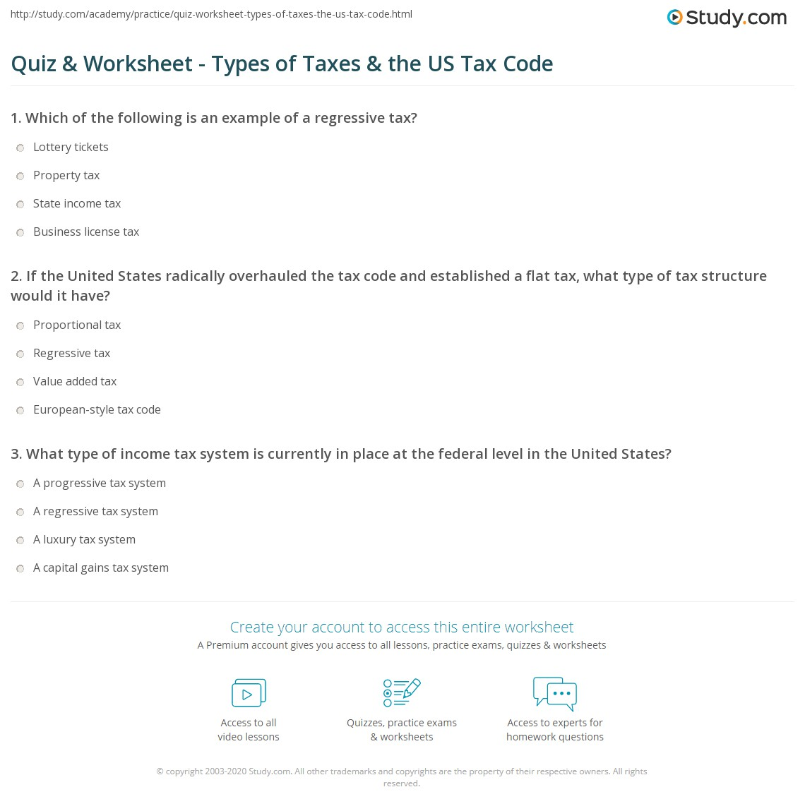 quiz worksheet types of taxes the us tax code. Black Bedroom Furniture Sets. Home Design Ideas