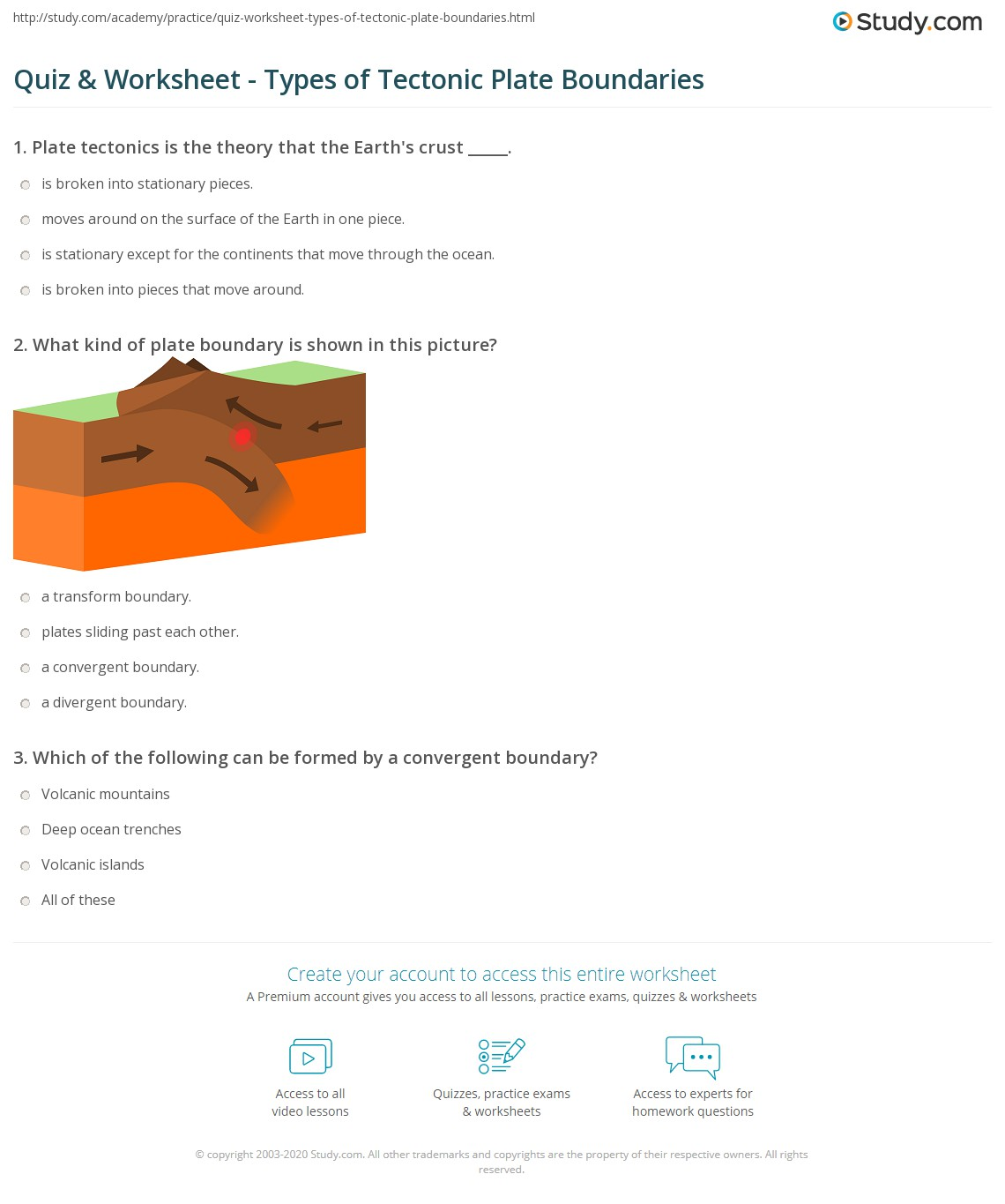 Quiz Worksheet Types of Tectonic Plate Boundaries – Plate Boundaries Worksheet Answers
