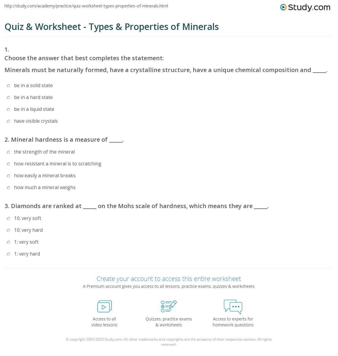 quiz worksheet types properties of minerals com already registered login here for access