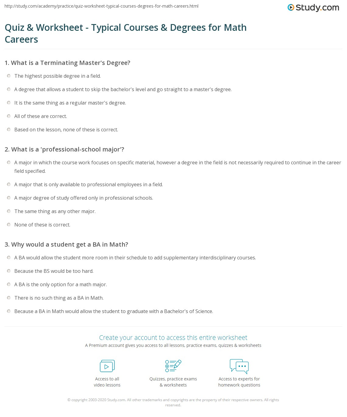 quiz worksheet typical courses degrees for math careers print careers in math typical courses degrees worksheet