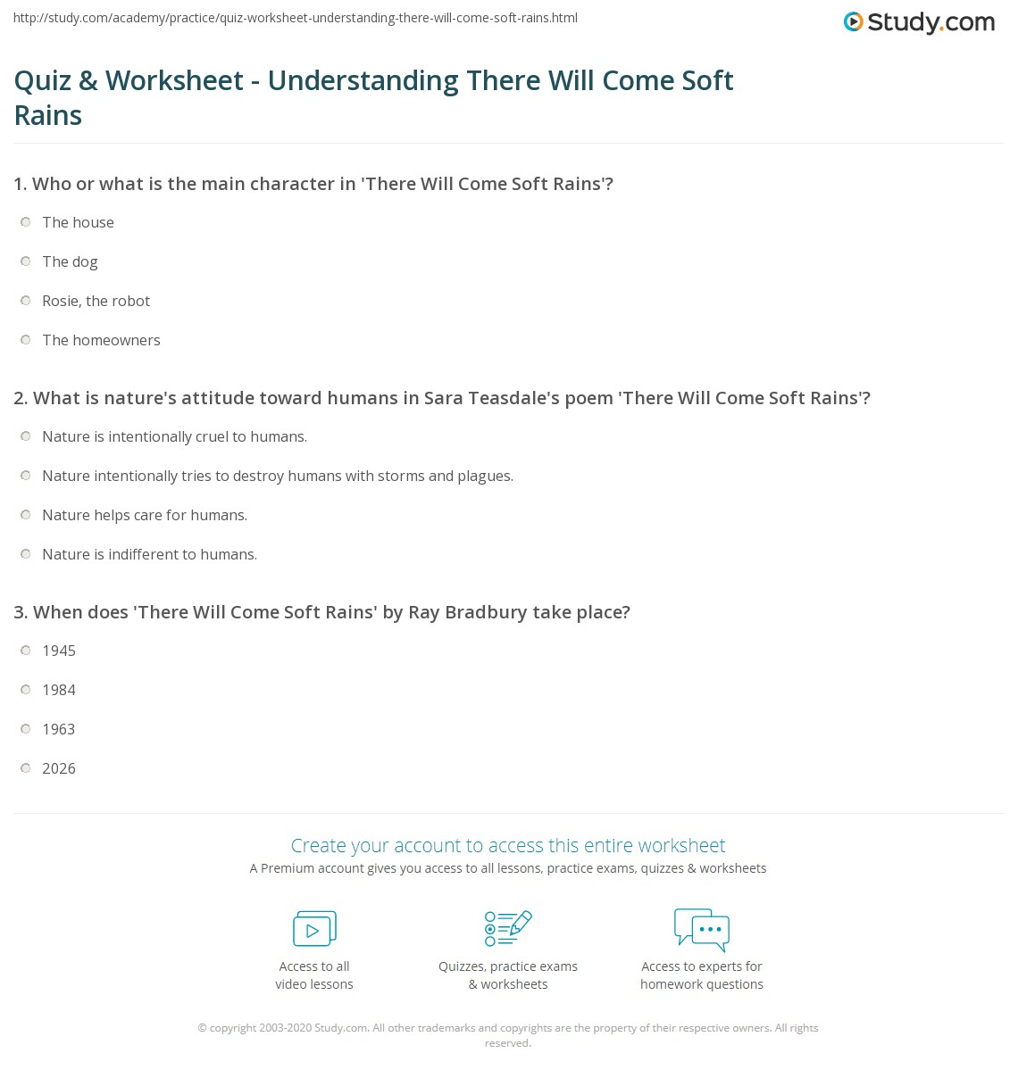 Quiz & Worksheet - Understanding There Will Come Soft Rains ...