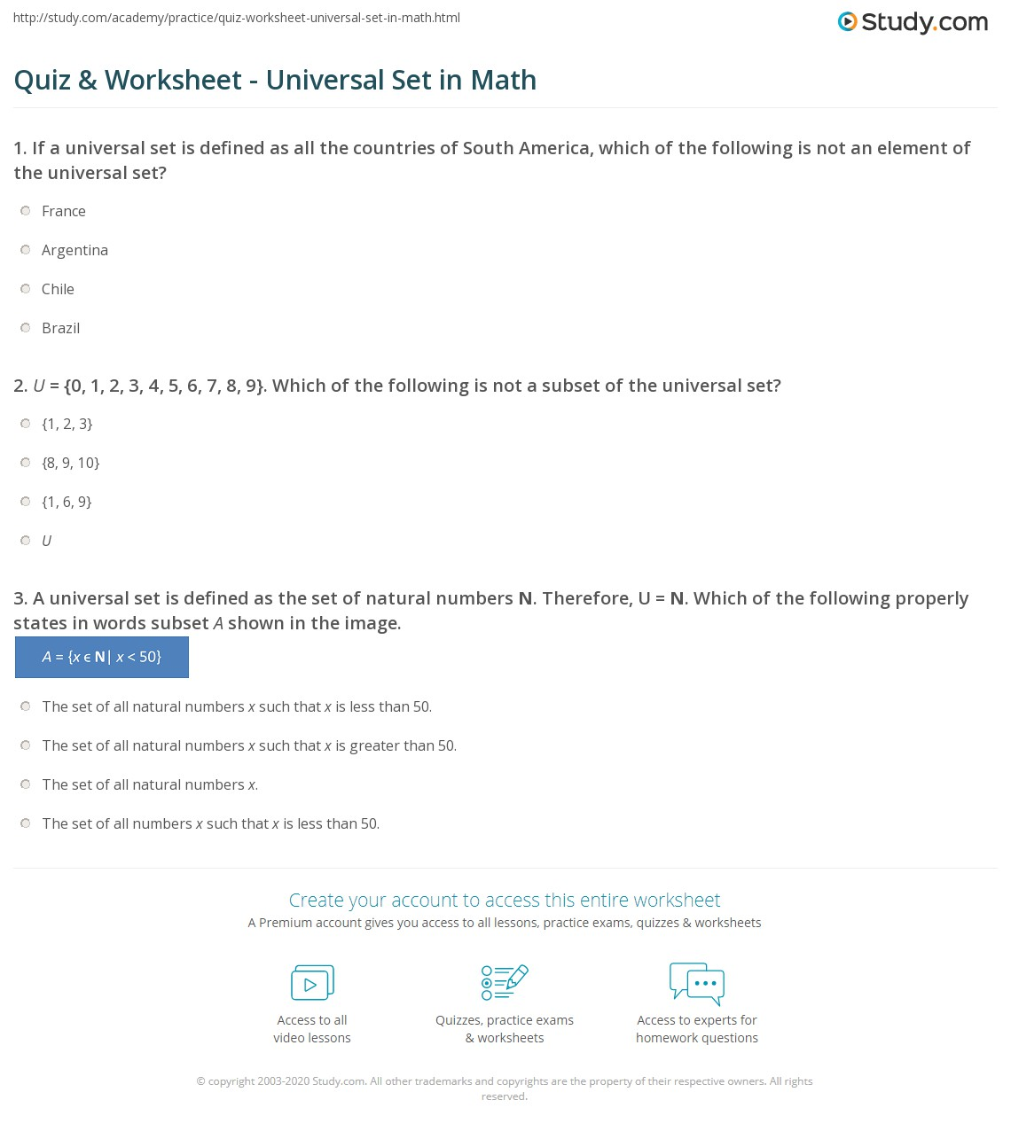 Quiz and Worksheet Universal Set in Math – Maths Quiz Worksheets