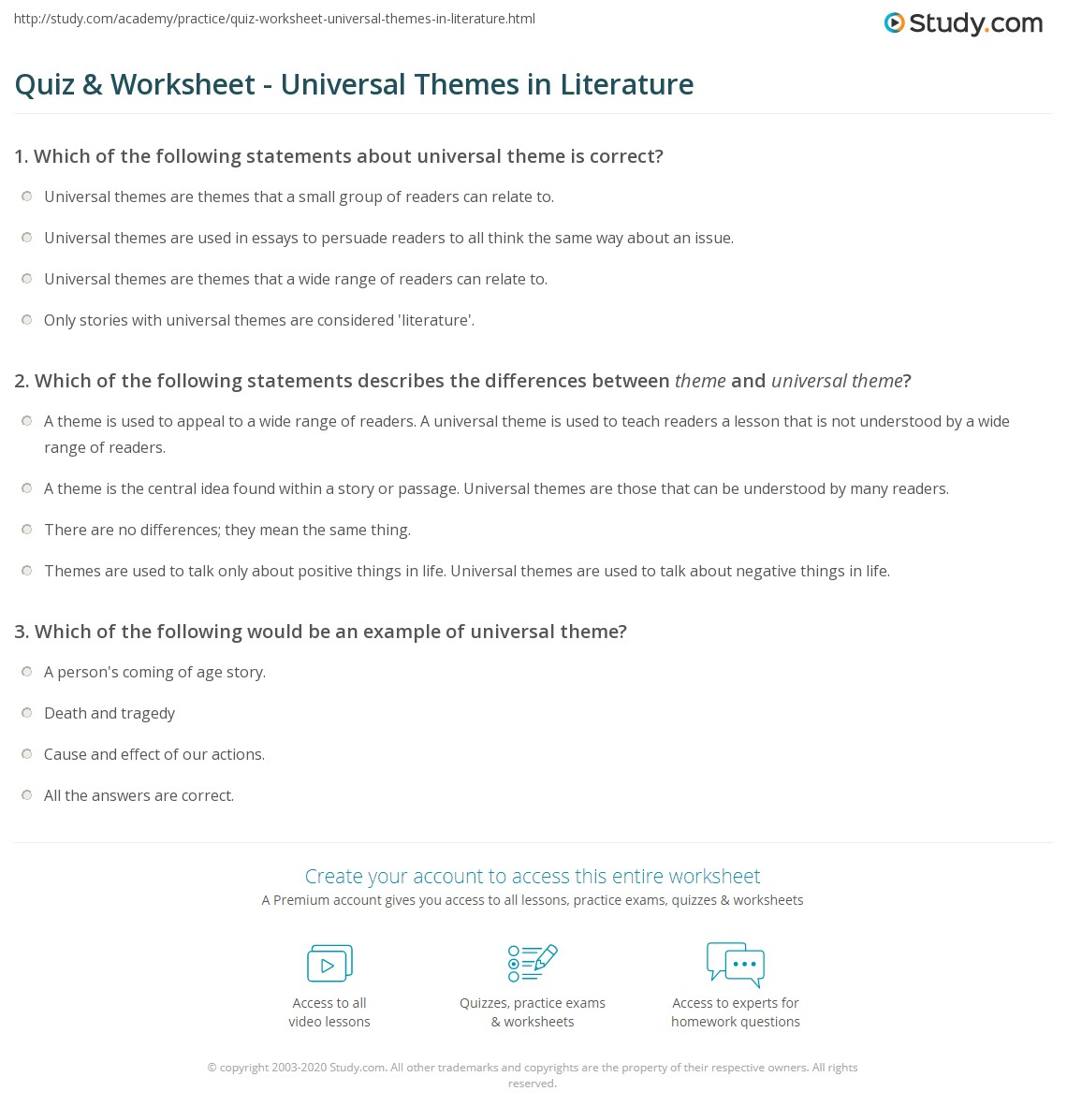 Quiz Worksheet Universal Themes in Literature – Theme Worksheets Middle School