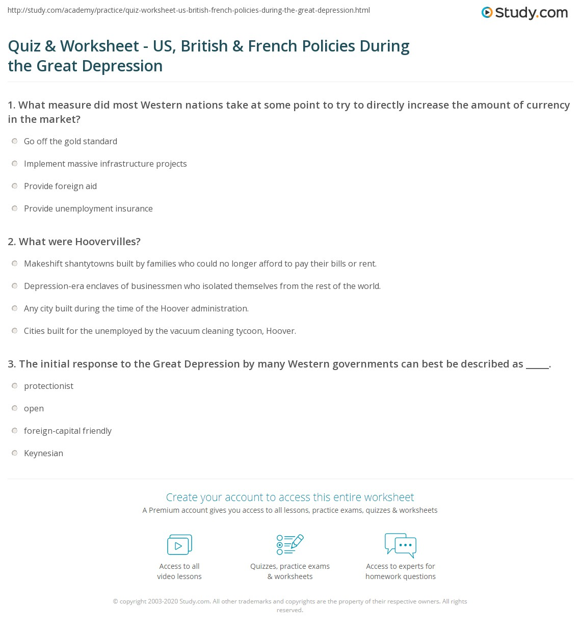 Quiz Worksheet US British French Policies During the Great – Depression Worksheets