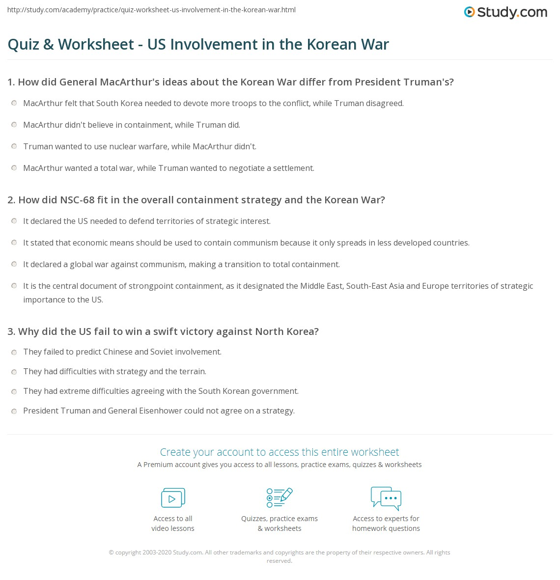 Quiz Worksheet US Involvement in the Korean War – Cause and Effect Worksheets for Middle School