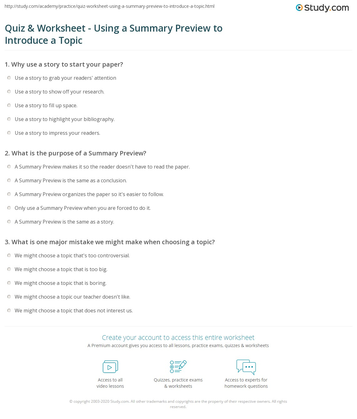 quiz worksheet using a summary preview to introduce a topic what is the purpose of a summary preview