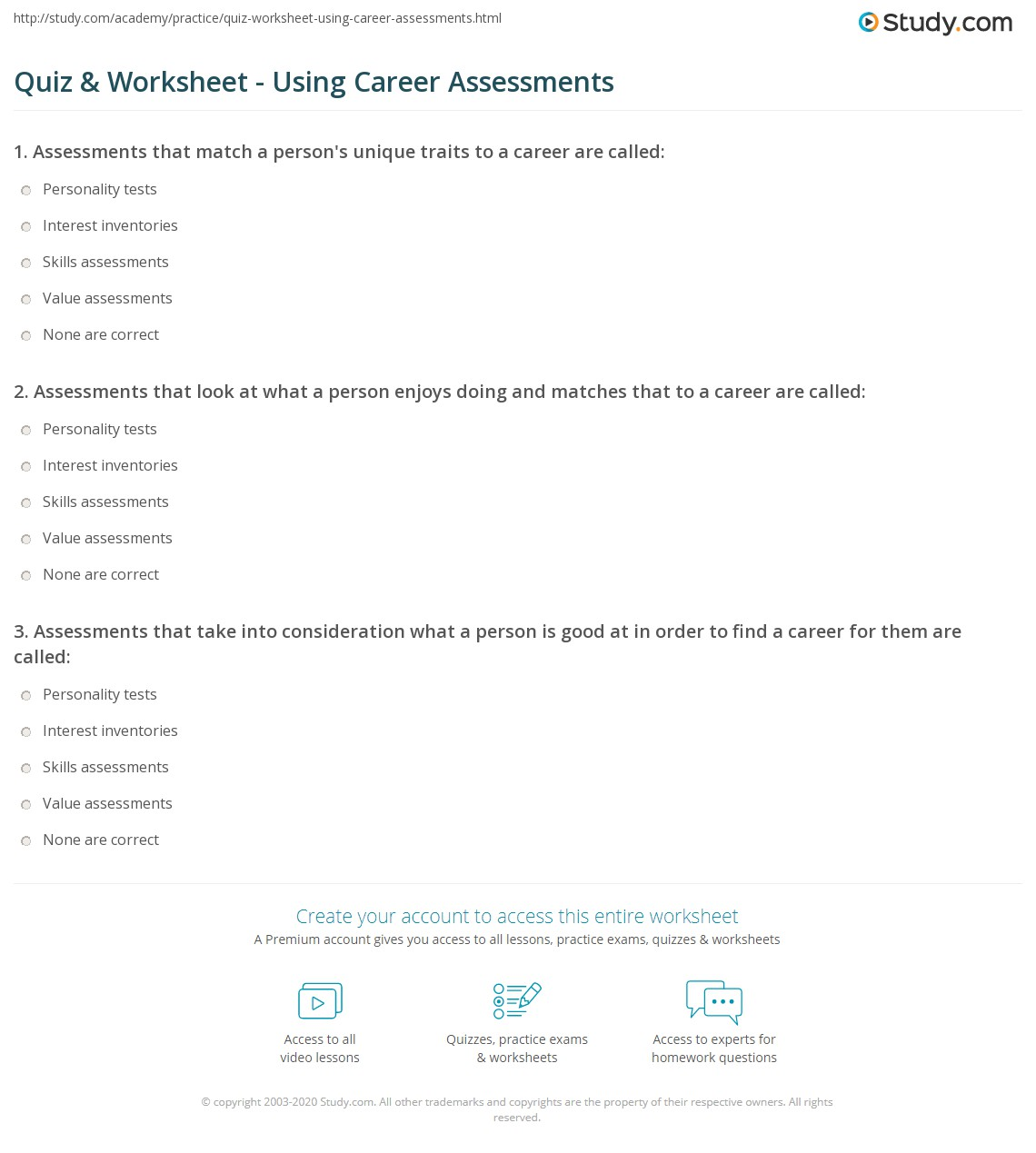 quiz worksheet using career assessments study com print career assessments types benefits worksheet