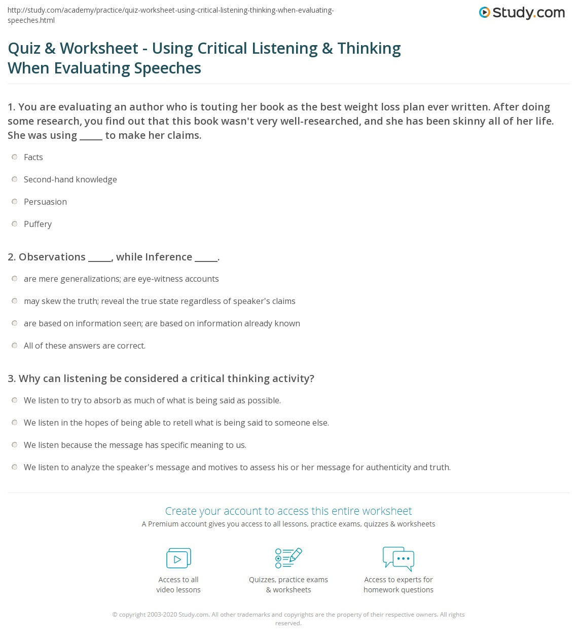 worksheet Critical Thinking Worksheet quiz worksheet using critical listening thinking when print evaluating others speeches worksheet