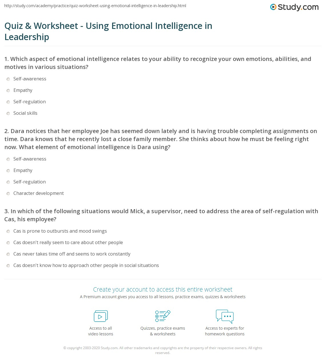 Quiz Worksheet Using Emotional Intelligence in Leadership – Emotional Regulation Worksheets