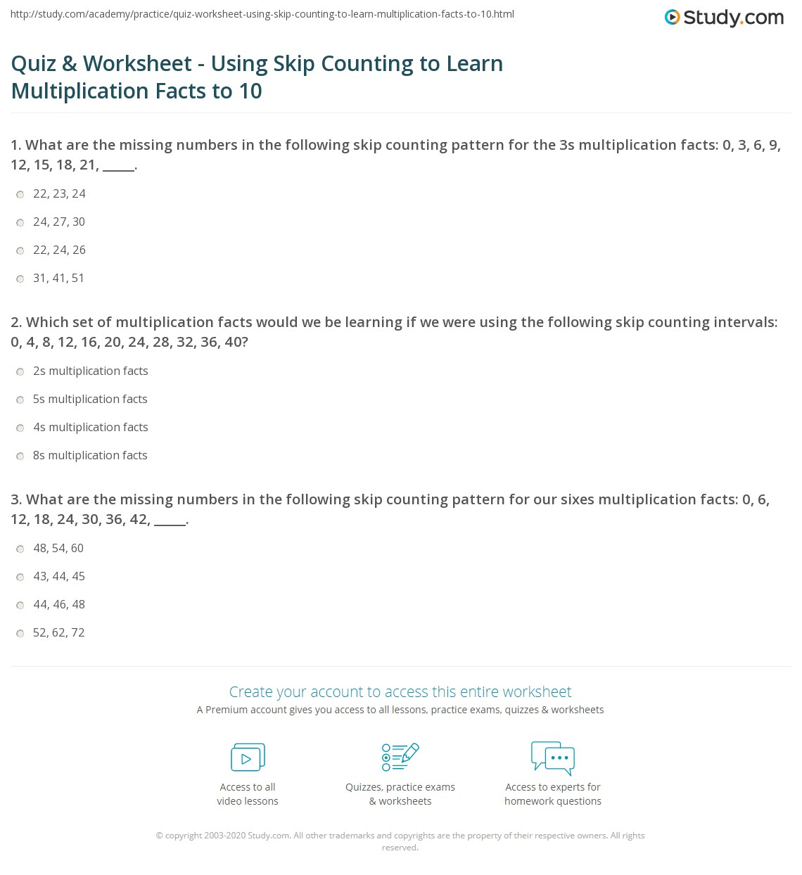 Quiz and Worksheet Using Skip Counting to Learn Multiplication – Learning Multiplication Facts Worksheets
