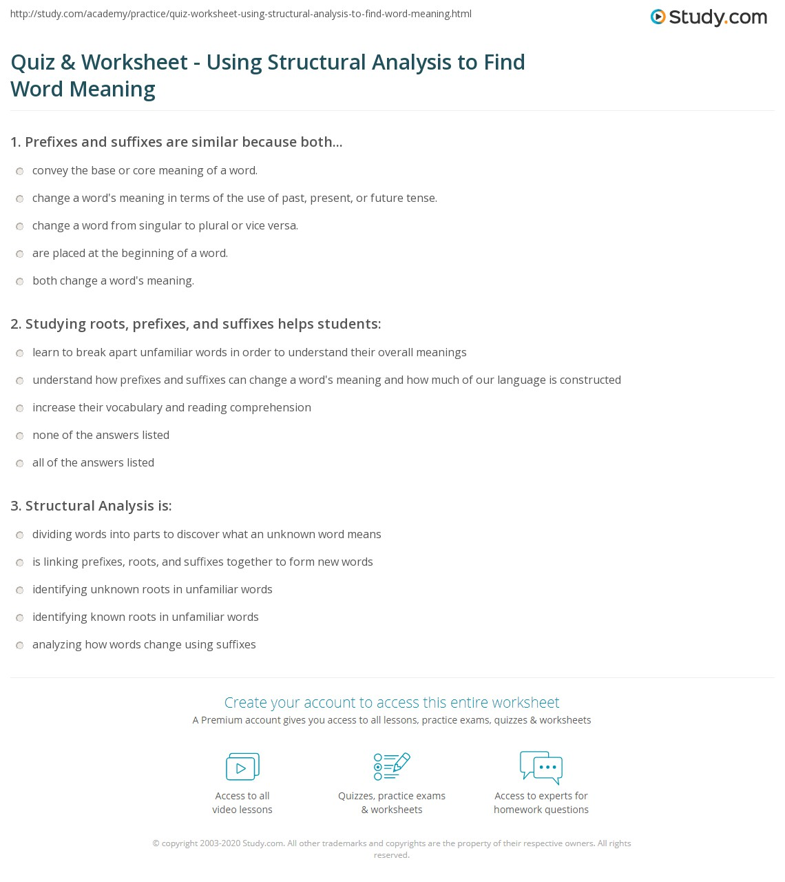 Quiz Worksheet Using Structural Analysis to Find Word Meaning – Words in Context Worksheets