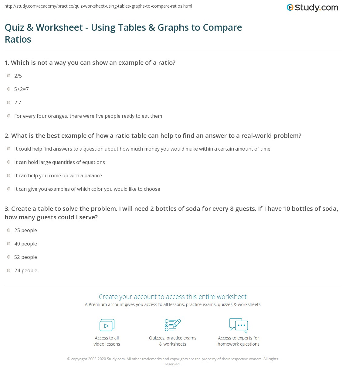 Quiz Worksheet Using Tables Graphs to Compare Ratios – Ratio Table Worksheet