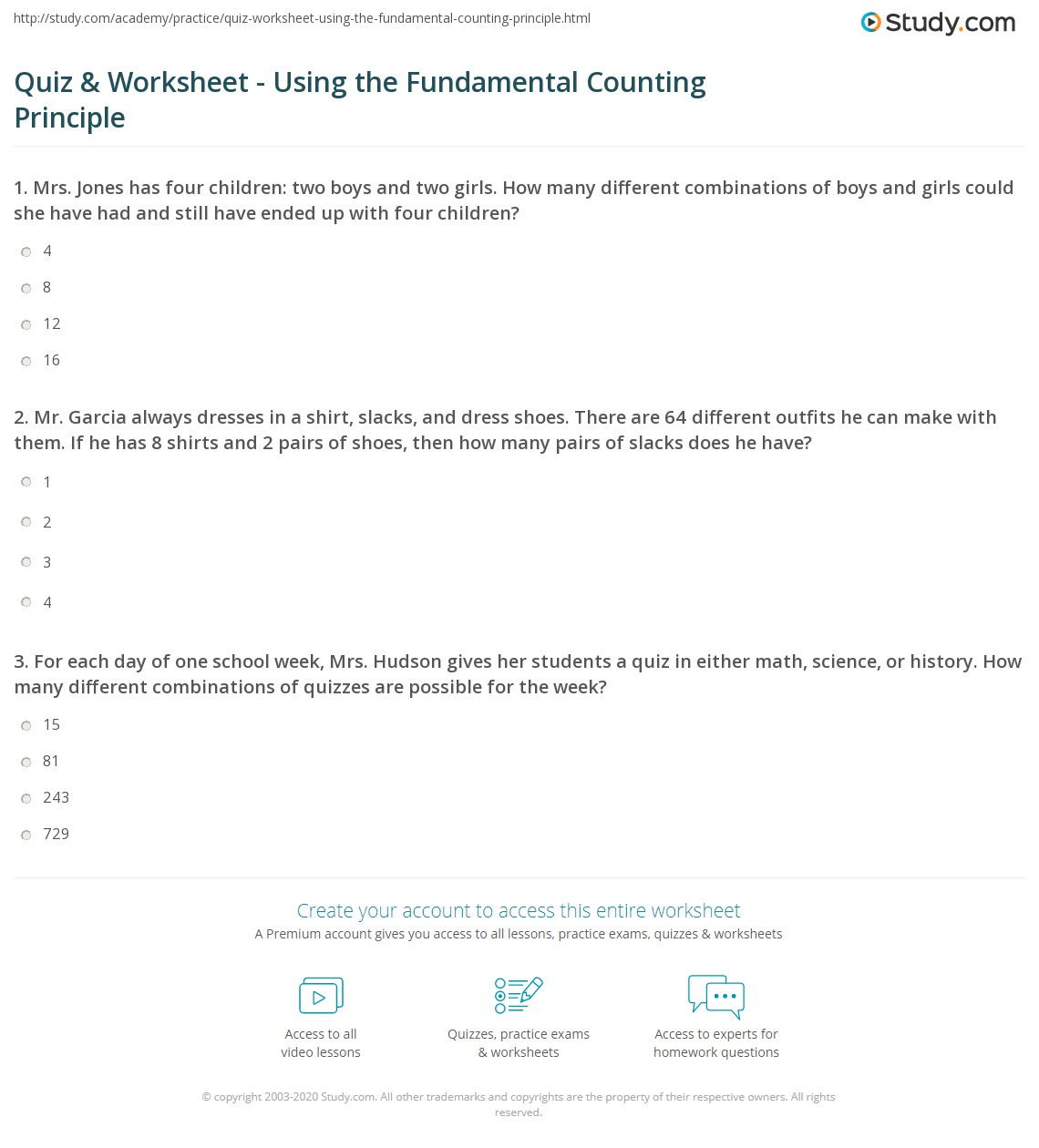 Quiz Worksheet Using the Fundamental Counting Principle – Combination and Permutation Worksheet