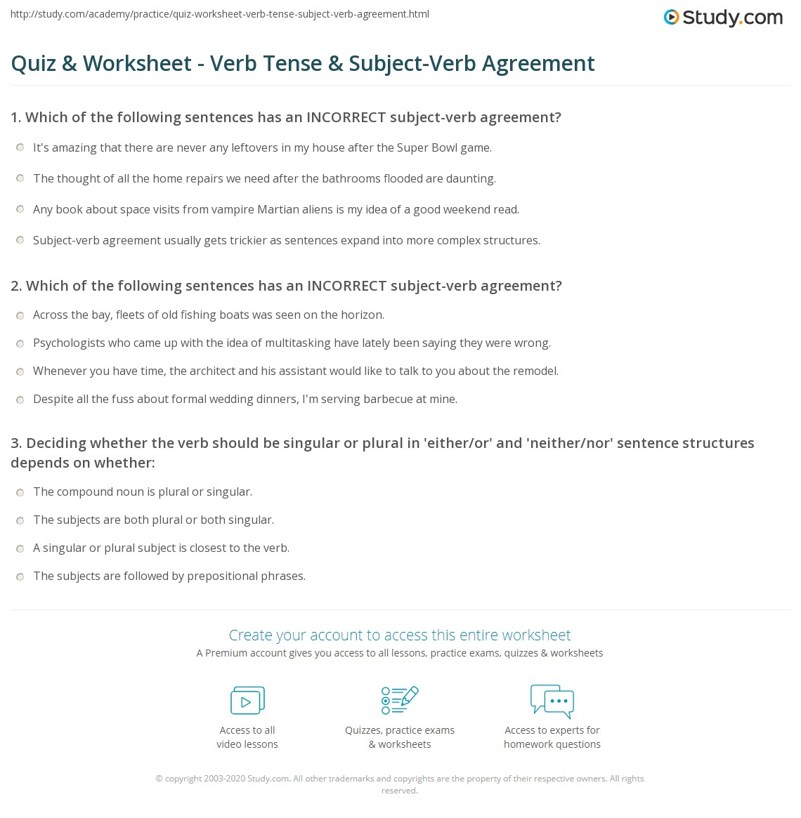Quiz amp worksheet verb tense amp subject verb agreement study com
