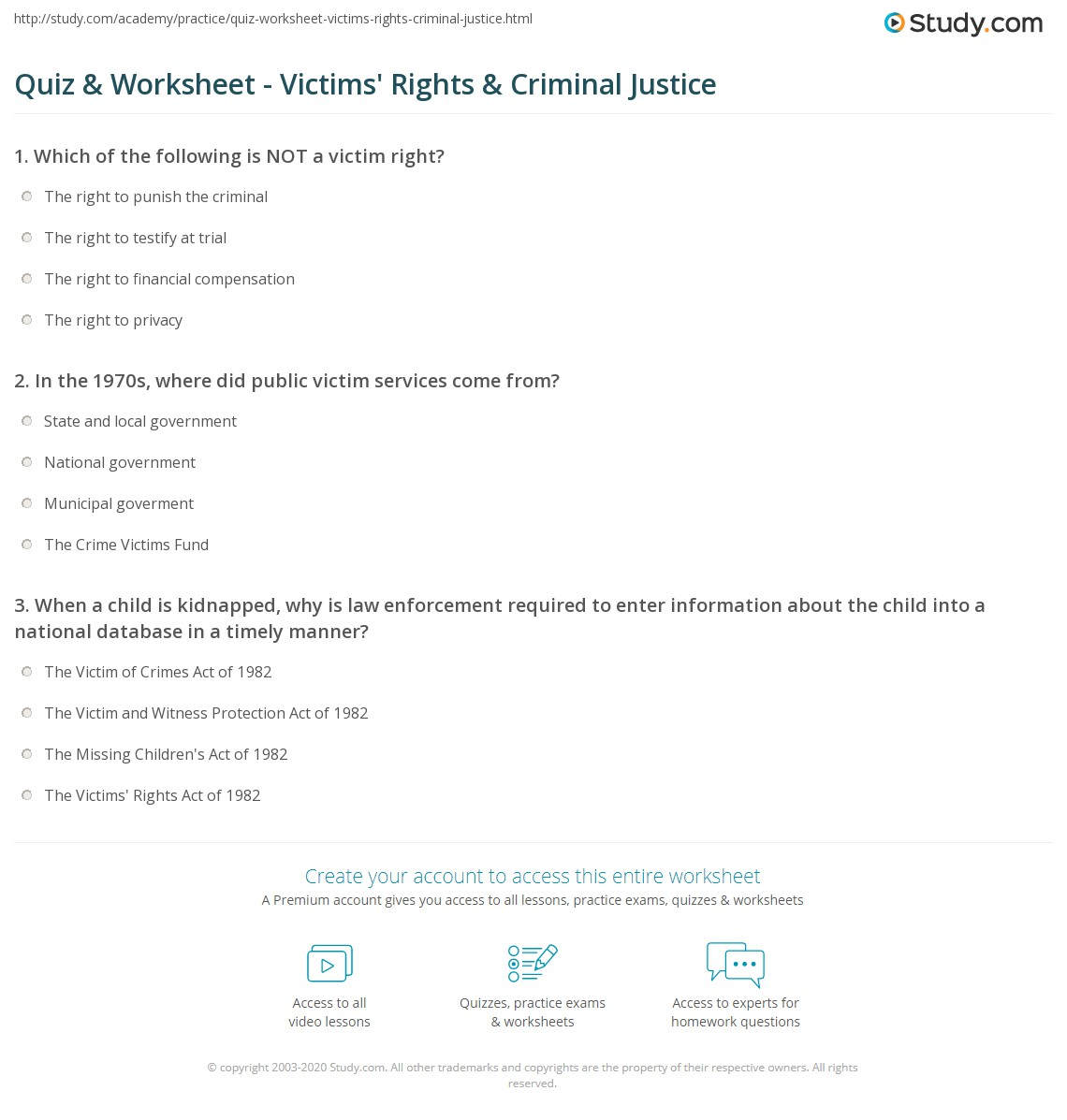quiz worksheet victims 39 rights criminal justice. Black Bedroom Furniture Sets. Home Design Ideas