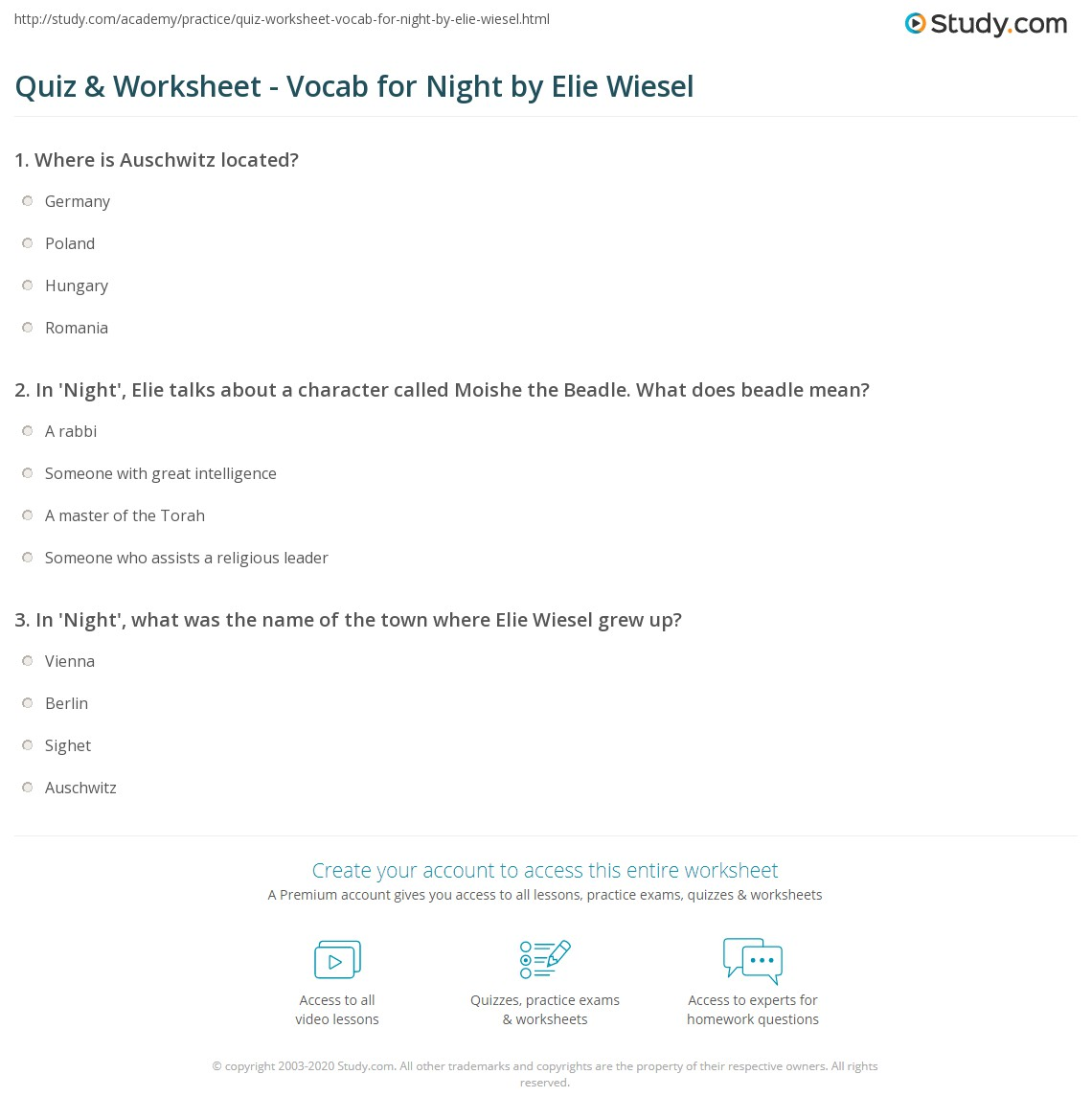 Worksheet Night Elie Wiesel Worksheets quiz worksheet vocab for night by elie wiesel study com print vocabulary worksheet