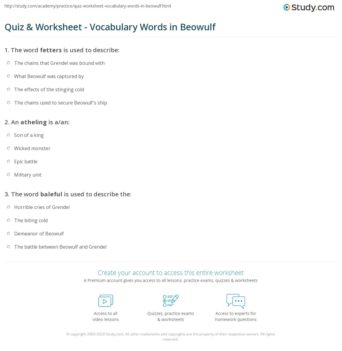 Printables Beowulf Worksheets quiz worksheet vocabulary words in beowulf study com print key worksheet