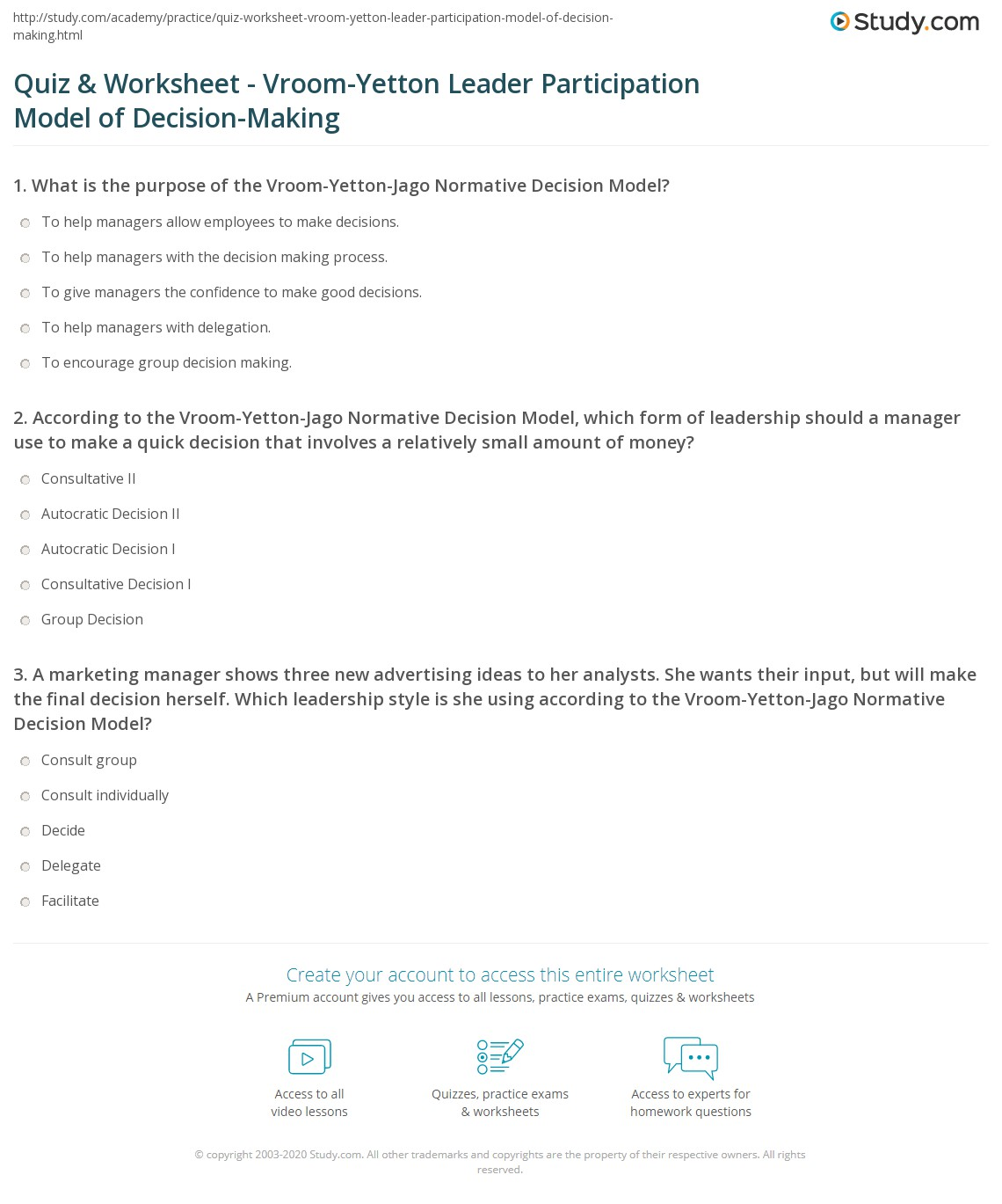 Worksheets Decision Making Worksheet quiz worksheet vroom yetton leader participation model of print the rethinking business decision making worksheet