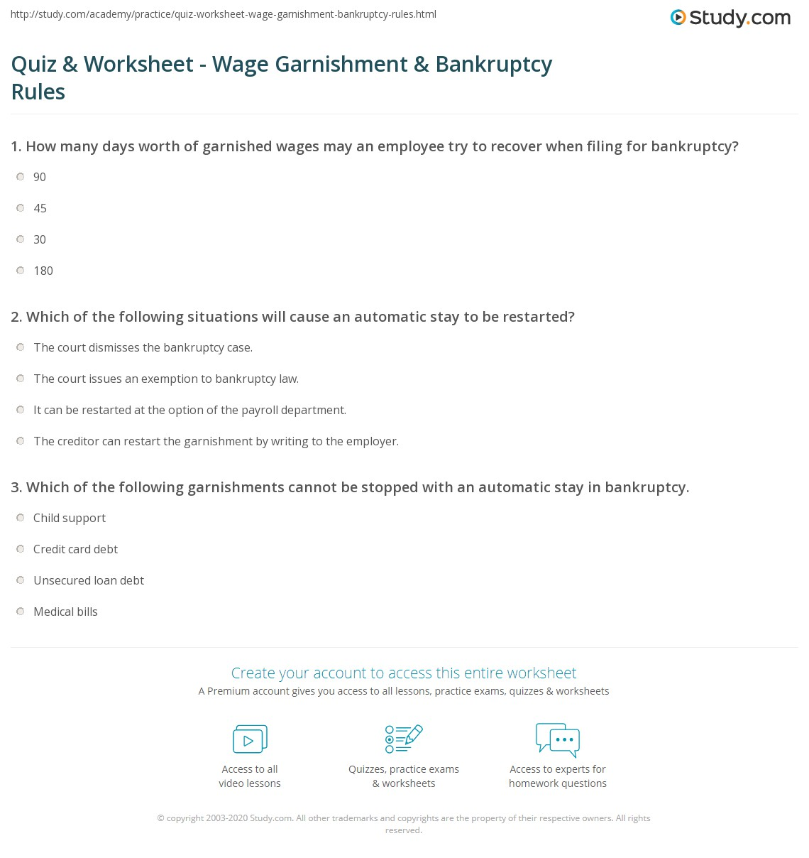 Worksheets Wage Garnishment Worksheet quiz worksheet wage garnishment bankruptcy rules study com print for stopping with worksheet
