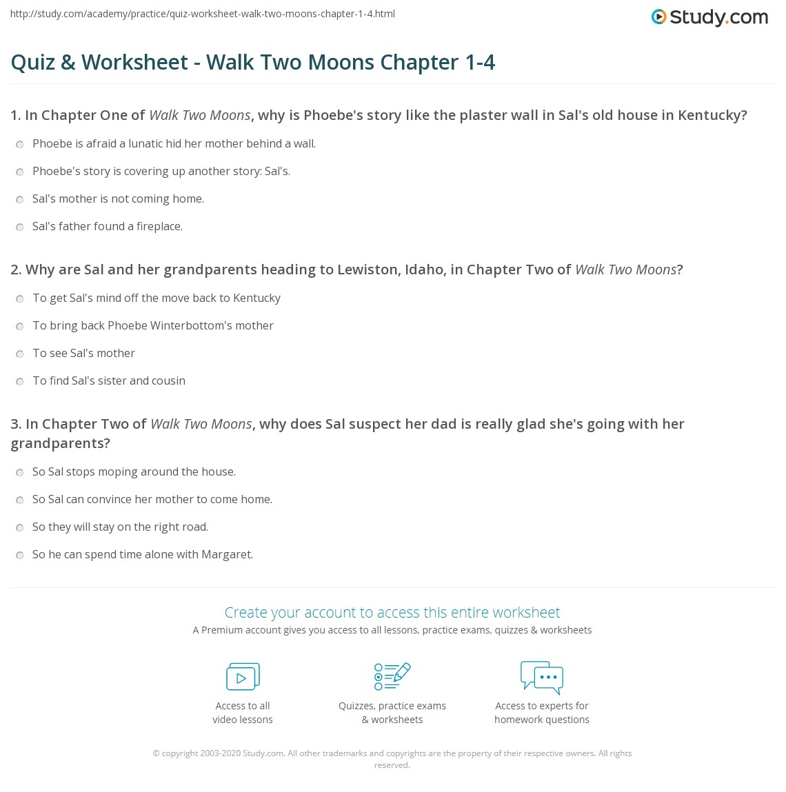 walk two moons worksheets  quiz worksheet walk two moons chapter 1 4 study com