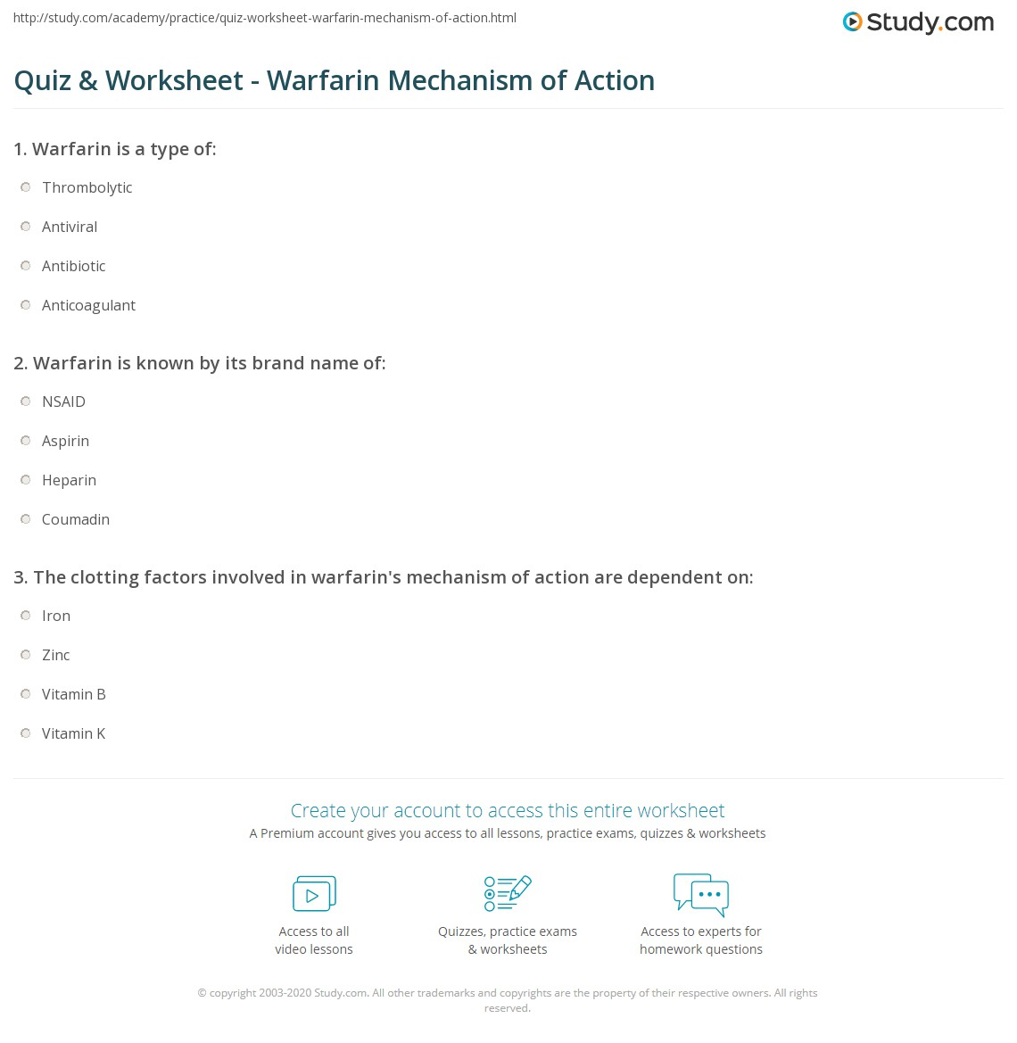 Quiz & Worksheet - Warfarin Mechanism of Action | Study.com