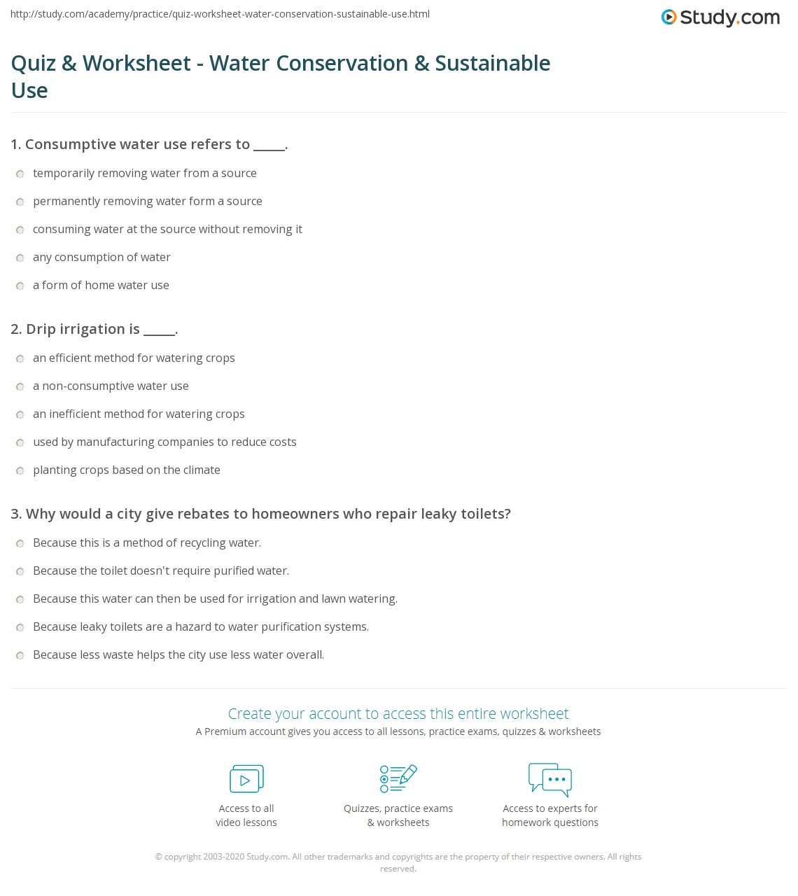 Printables Water Conservation Worksheets quiz worksheet water conservation sustainable use study com print how management can lead to worksheet