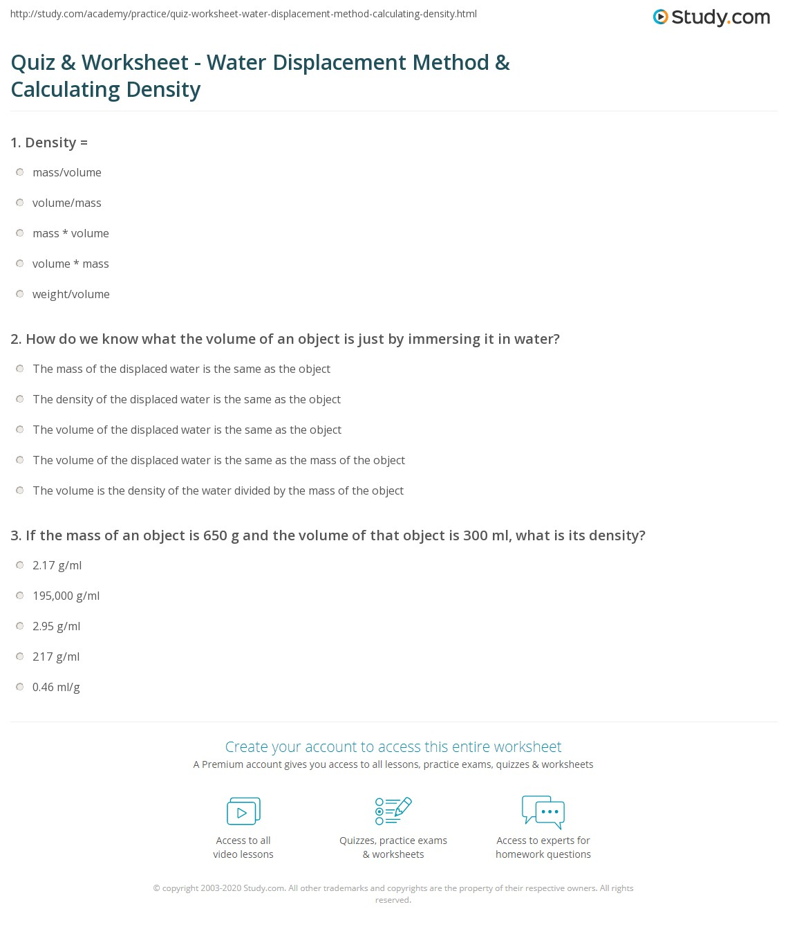 Quiz & Worksheet - Water Displacement Method & Calculating Density ...