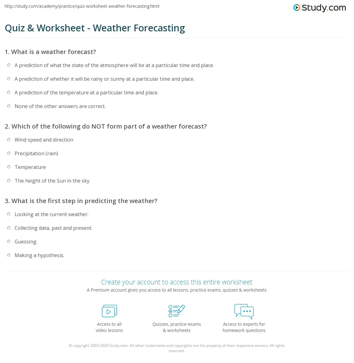 Quiz Worksheet Weather Forecasting – Weather Forecast Worksheet