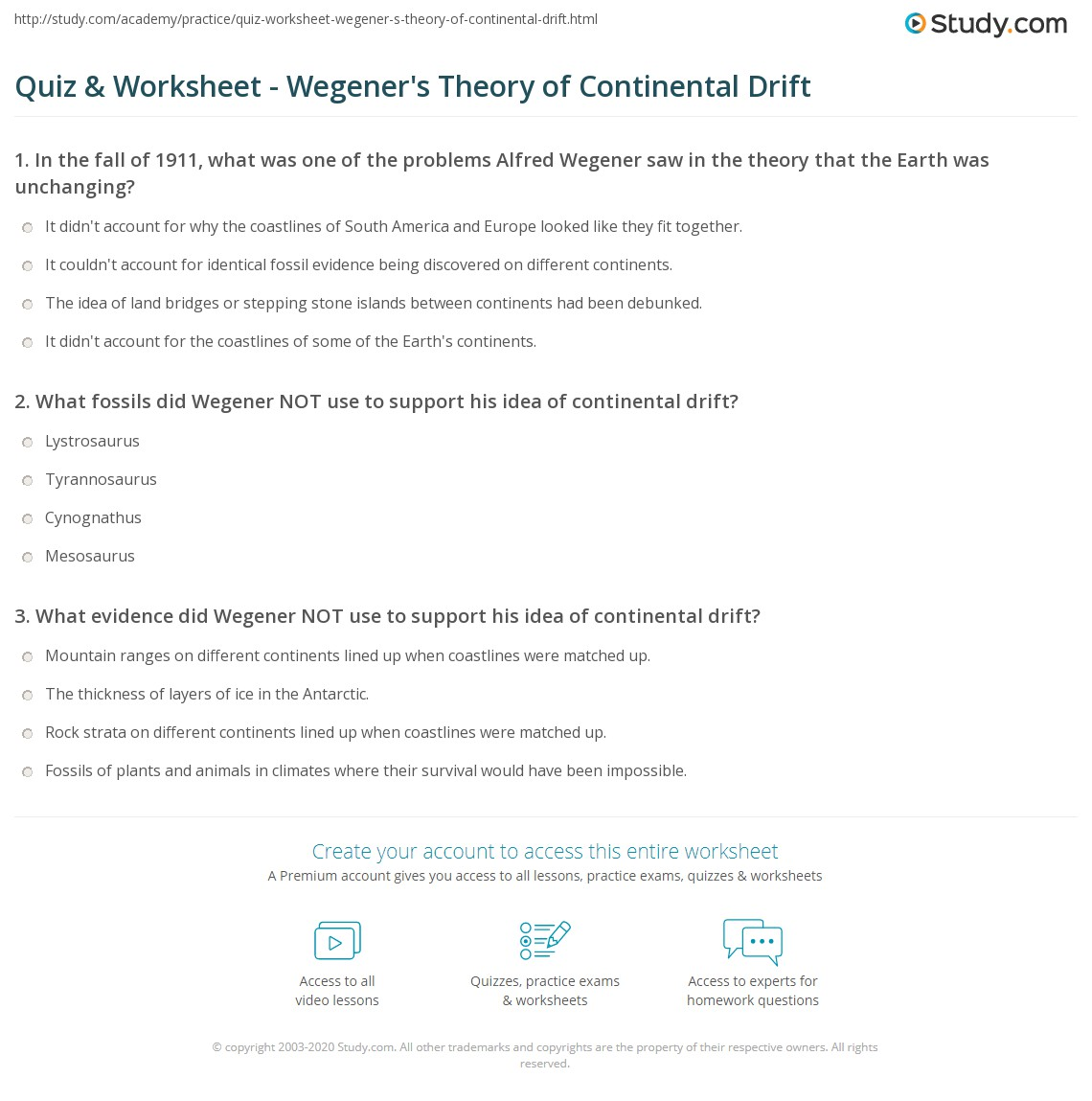 Worksheets Continental Drift Worksheet quiz worksheet wegeners theory of continental drift study com print alfred worksheet