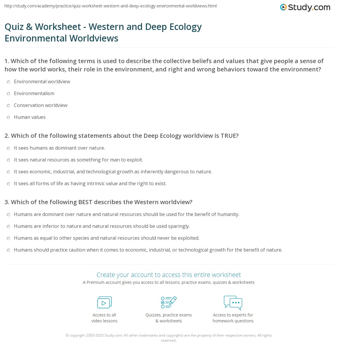 Quiz Worksheet Western and Deep Ecology Environmental – Ecology Worksheets for High School