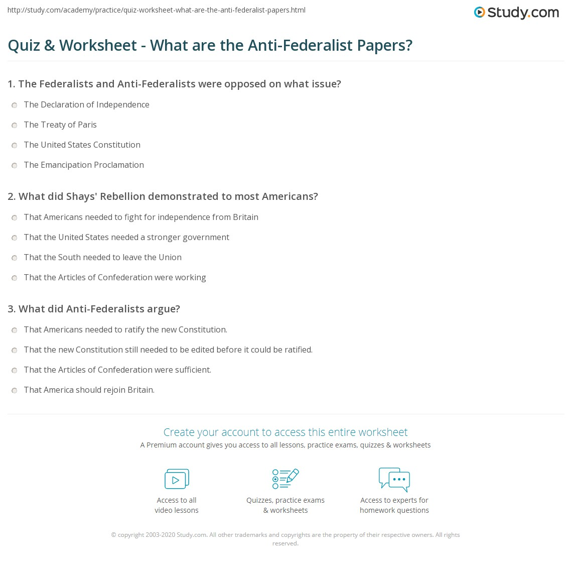 quiz worksheet what are the anti federalist papers com print anti federalist papers summary analysis worksheet