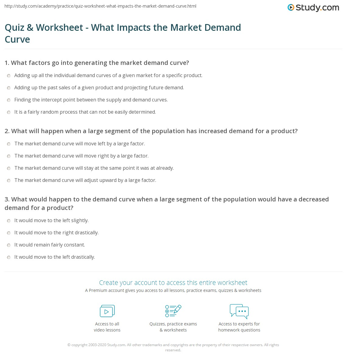 Printables Demand Curve Worksheet quiz worksheet what impacts the market demand curve study com print factors that affect worksheet