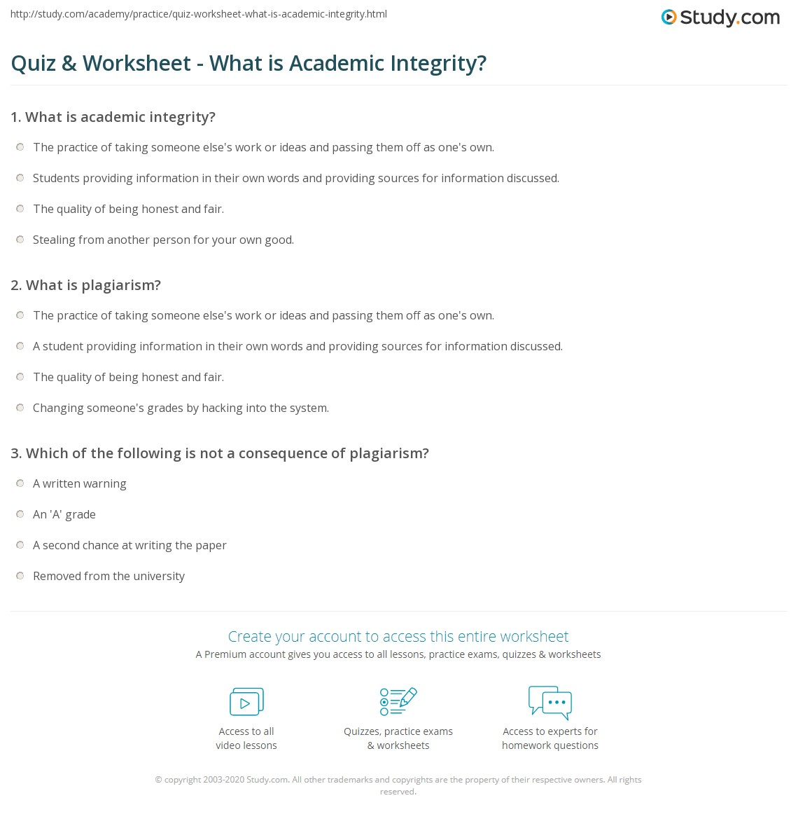 quiz worksheet what is academic integrity. Black Bedroom Furniture Sets. Home Design Ideas