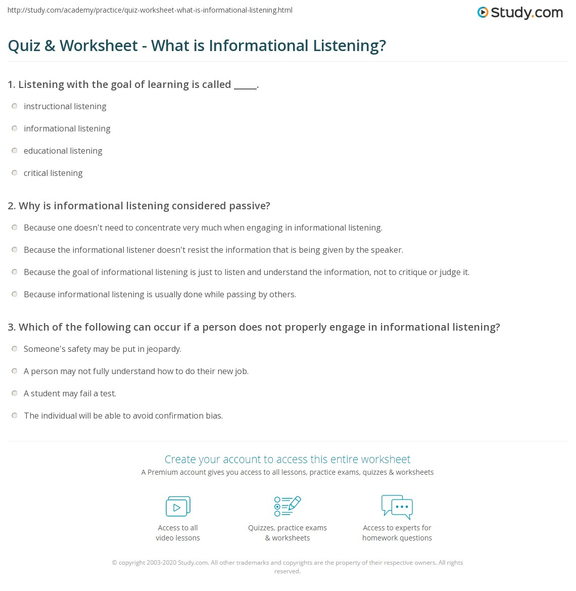 quiz worksheet what is informational listening com print informational listening definition skills worksheet