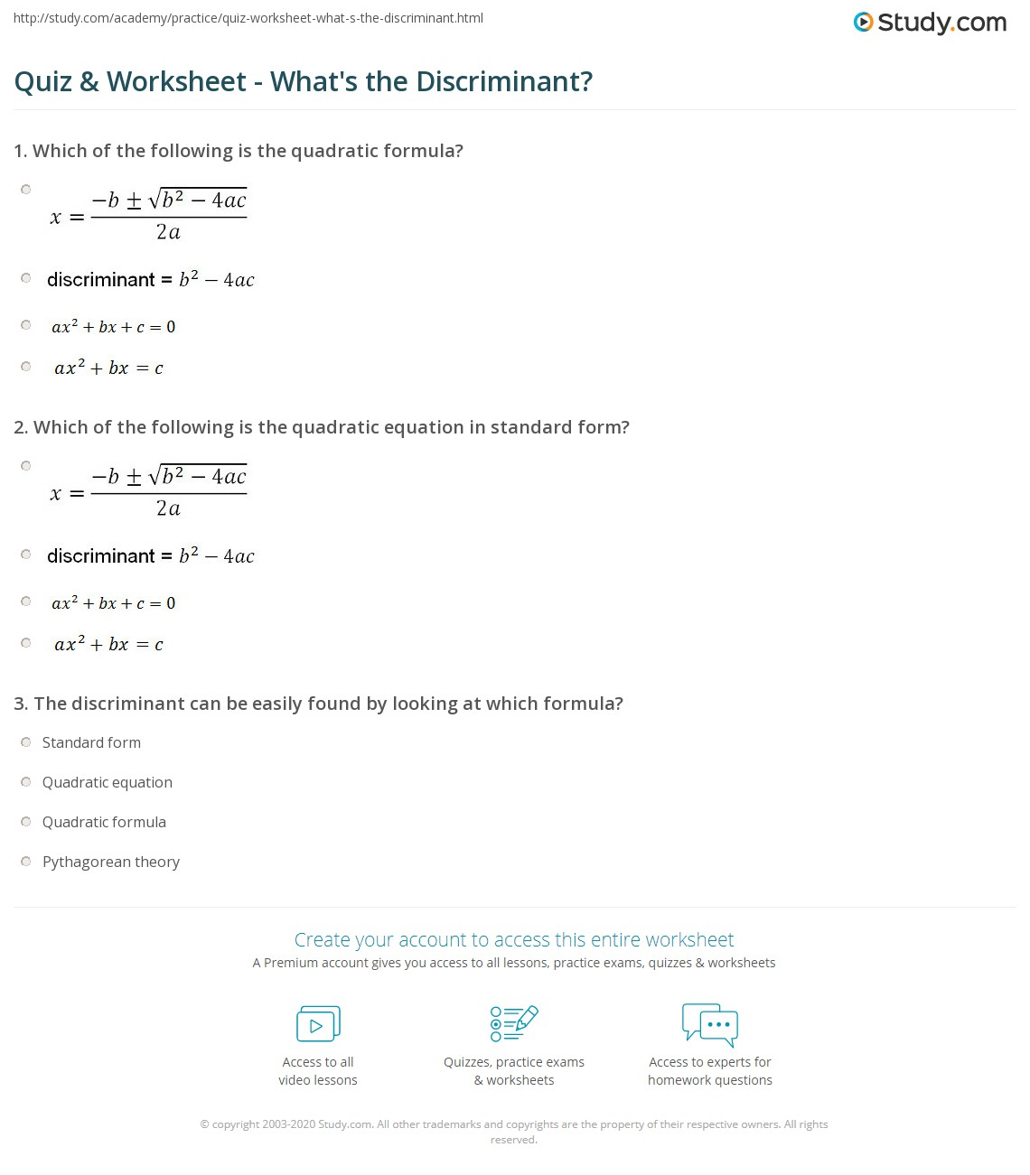 Quiz Worksheet Whats the Discriminant – The Quadratic Formula and the Discriminant Worksheet