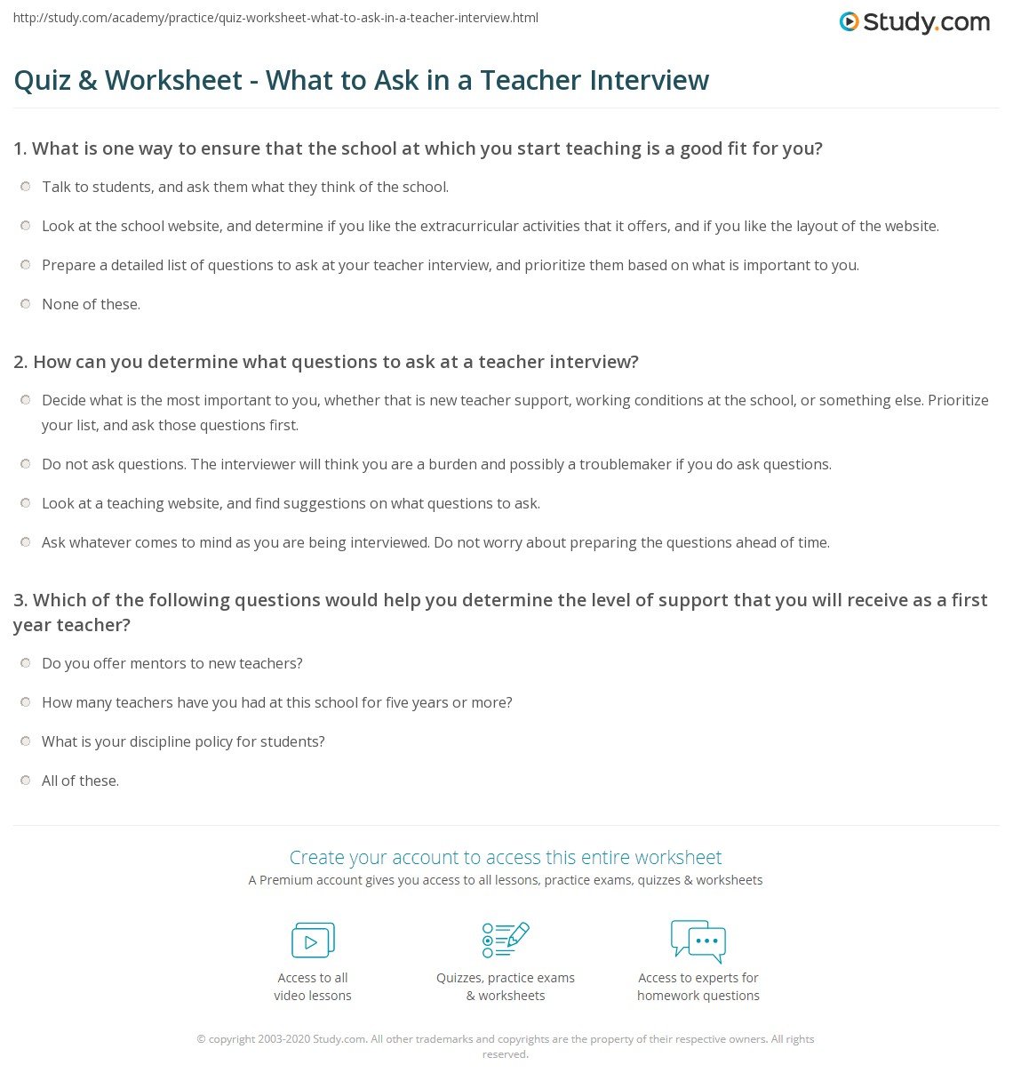 quiz worksheet what to ask in a teacher interview study com print questions to ask in a teacher interview worksheet