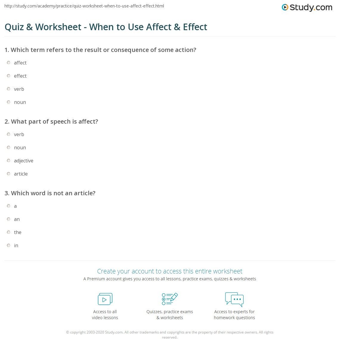 Quiz Worksheet When to Use Affect Effect – Affect Effect Worksheet