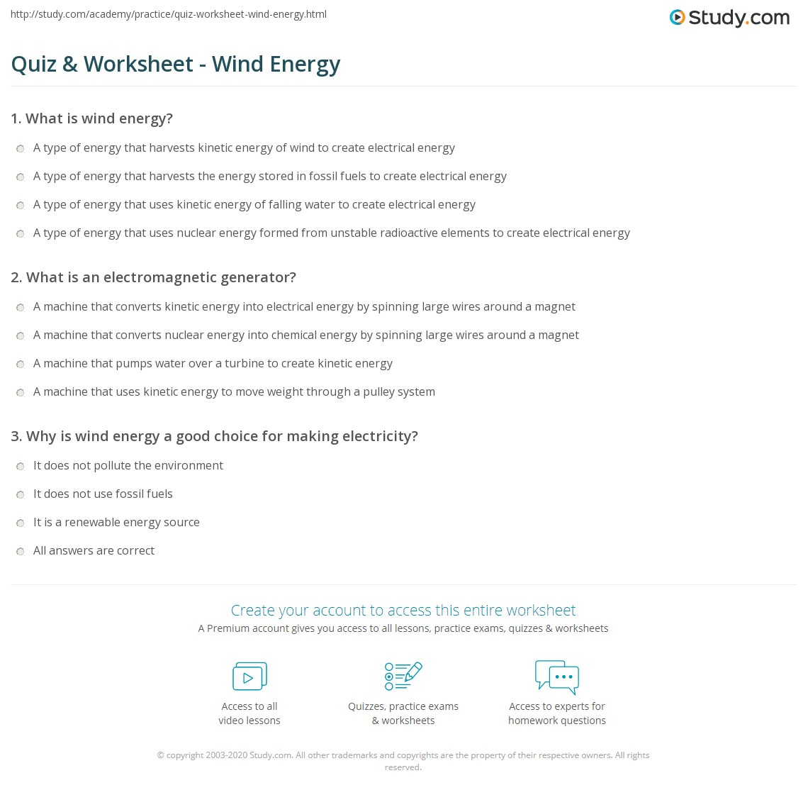 Quiz Worksheet Wind Energy – Energy Worksheet Answers