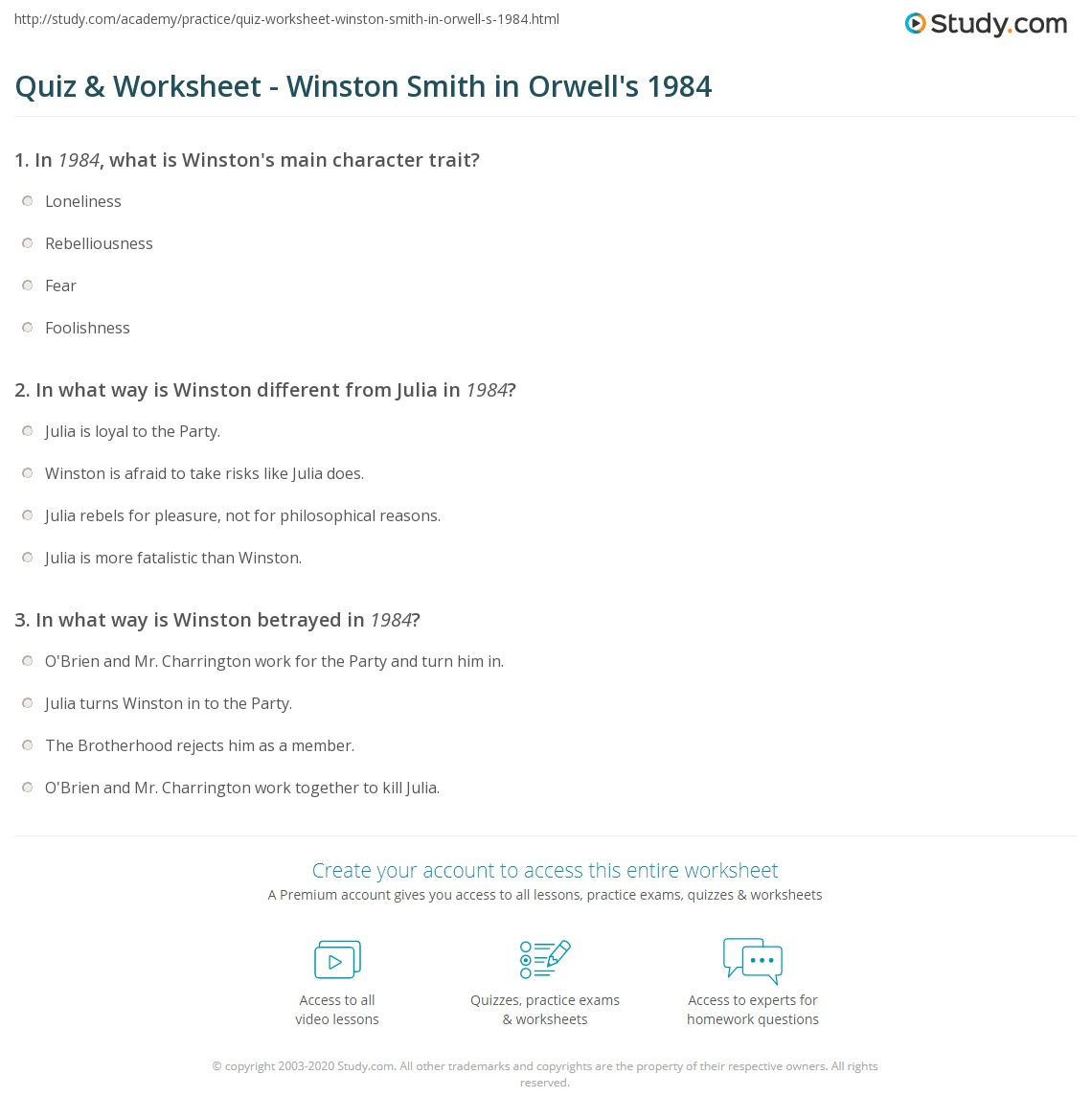 quiz worksheet winston smith in orwell s com print winston smith in 1984 character traits analysis worksheet