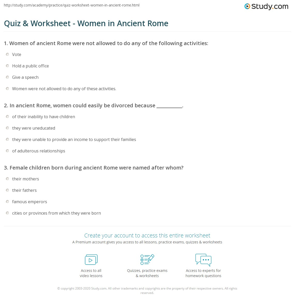 ancient rome essay quiz worksheet women in ancient rome com r  quiz worksheet women in ancient rome com print women in ancient rome facts daily life history