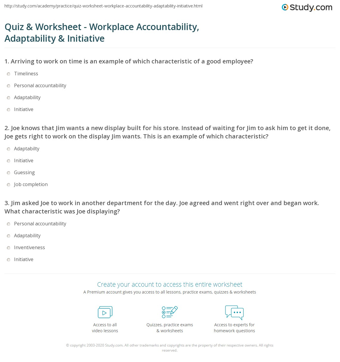 quiz worksheet workplace accountability adaptability 1 joe knows that jim wants a new display built for his store instead of waiting for jim to ask him to get it done joe gets right to work on the