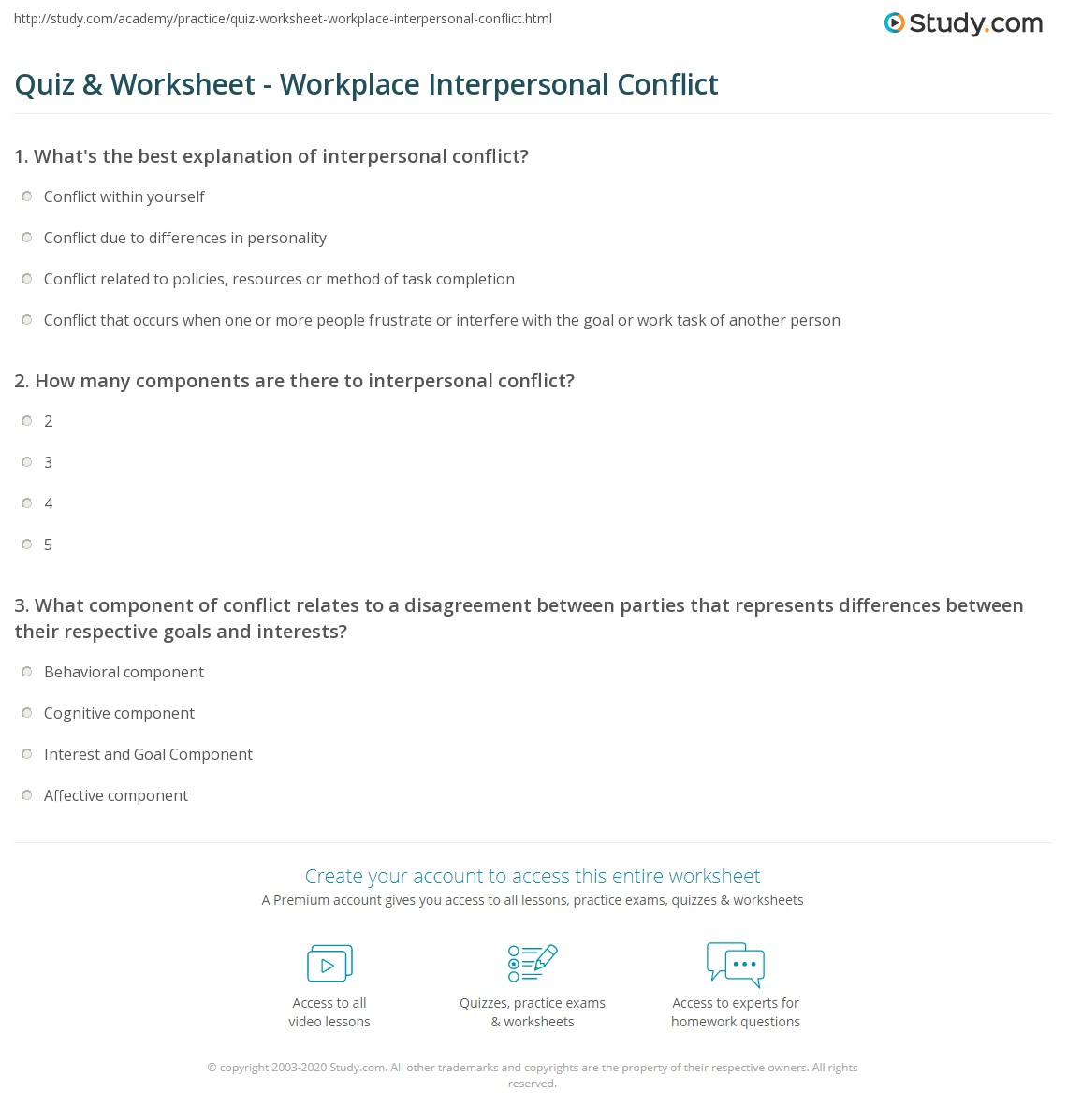 Quiz Worksheet Workplace Interpersonal Conflict – Conflict Worksheets