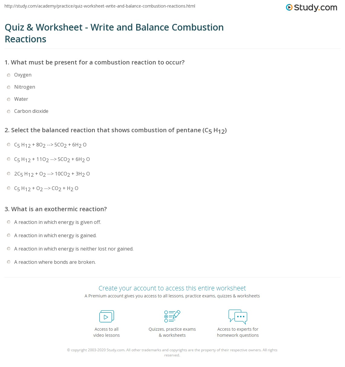 Quiz & Worksheet - Write and Balance Combustion Reactions | Study.com