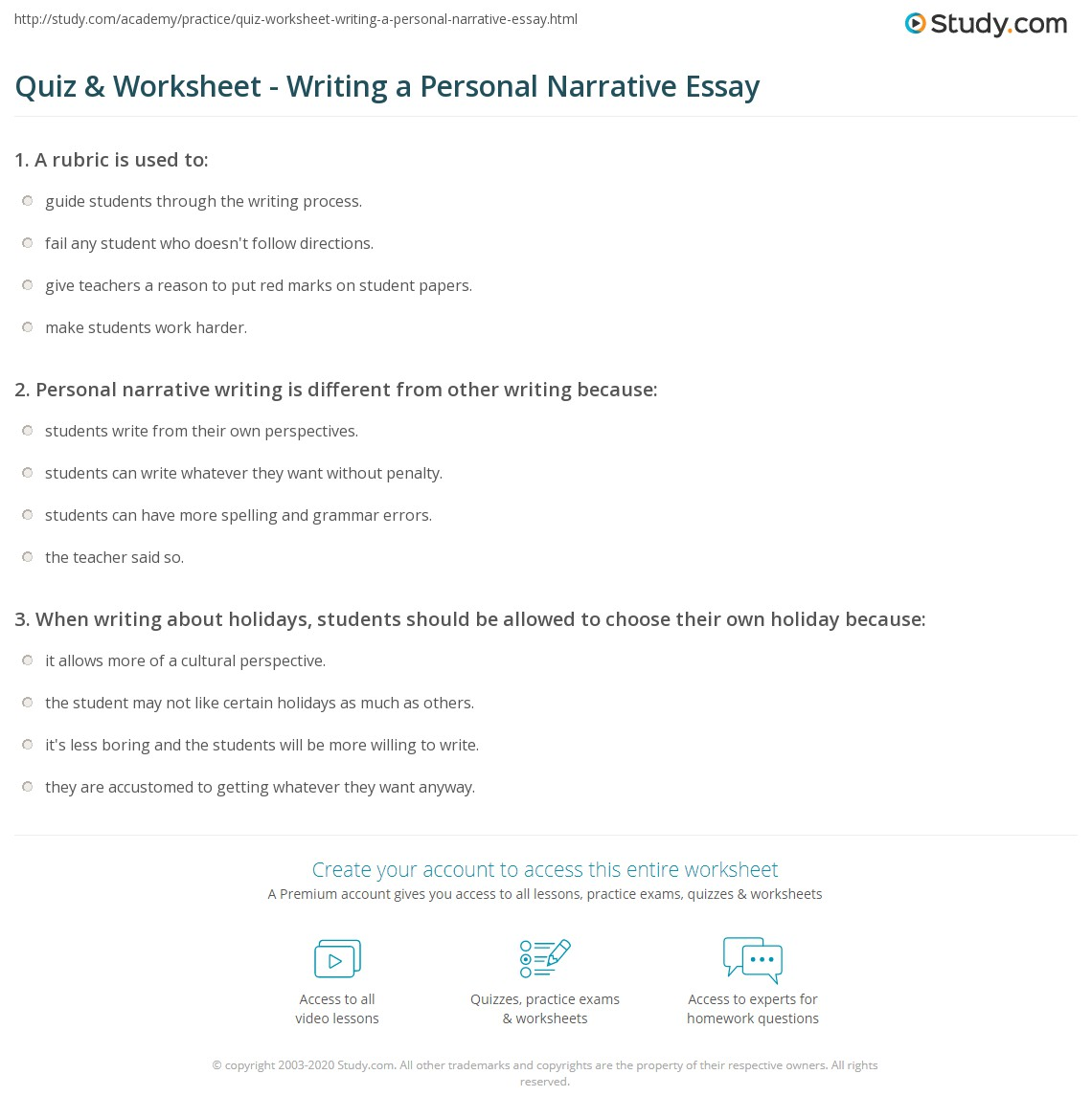 Quiz & Worksheet - Writing a Personal Narrative Essay | Study.com