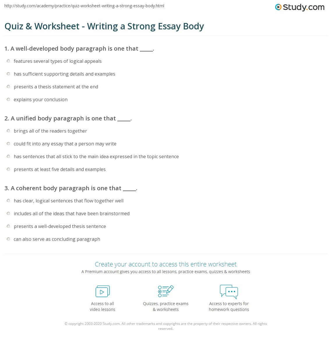 quiz worksheet writing a strong essay body com print how to write a strong essay body worksheet
