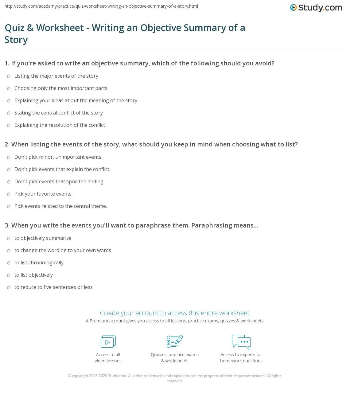 quiz worksheet writing an objective summary of a story com print writing an objective summary of a story worksheet